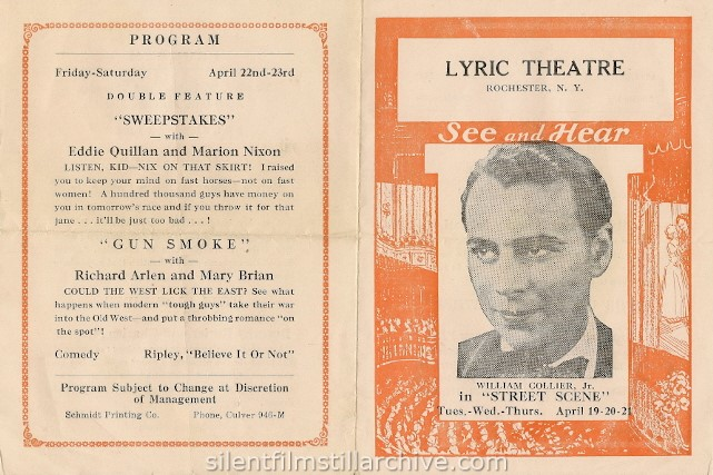 Rochester, New York Lyric Theatre program, April 17, 1932