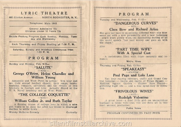 Rochester, New York Lyric Theatre program, February 9, 1930