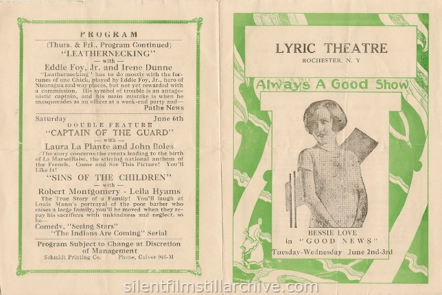 Rochester, New York Lyric Theatre program, May 31, 1931