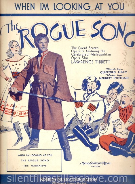 ROGUE SONG (1930 sheet music with Laurence Tibbett
