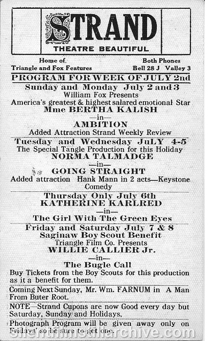 Saginaw, Michigan Strand Theatre program, July 2, 1916