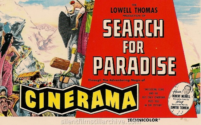 Postcard for the Cinerama film SEARCH FOR PARADISE (1957)