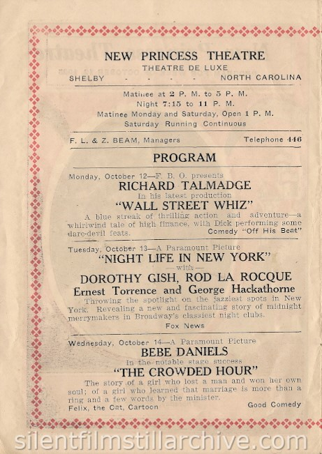 New Princess Theatre program for October 12, 1925