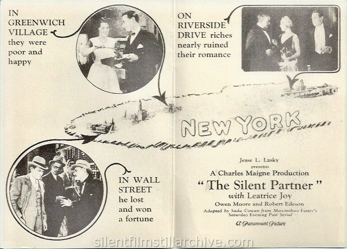 Advertising herald for THE SILENT PARTNER (1929) with Leatrice Joy and Owen Moore at the Opera House Theatre in Idaho Springs, Colorado.