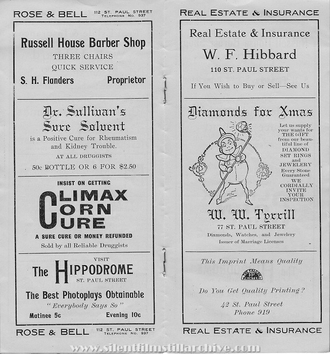The Grand theater program, St. Catherines, Ontario, Canada, December 1912