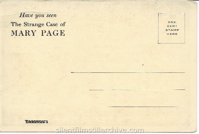 THE STRANGE CASE OF MARY PAGE (1916) postcard.
