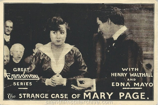 Henry B. Walthall and Edna Mayo in THE STRANGE CASE OF MARY PAGE (1916).