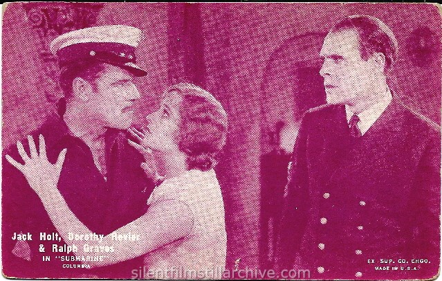 Jack Holt, Dorothy Revier & Ralph Graves in SUBMARINE (1928) postcard