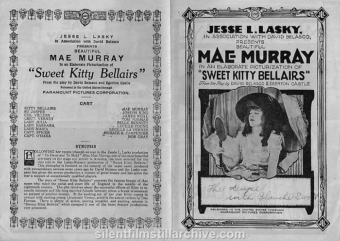 Theater herald for SWEET KITTY BELLAIRS (1916) with Mae Murray