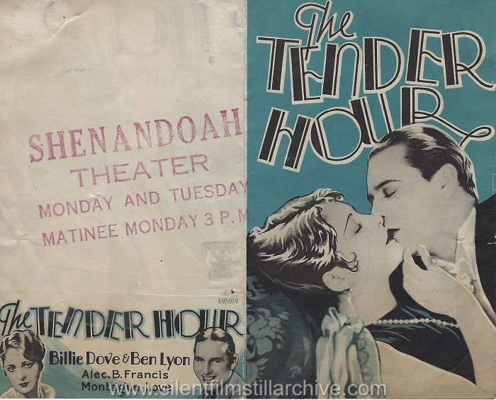 Herald for THE TENDER HOUR (1927) with Billie Dove and Ben Lyon.