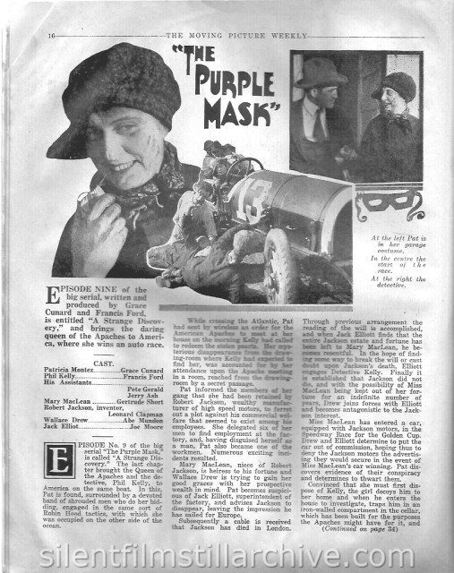 Moving Picture Weekly February 17, 1917 article on THE PURPLE MASK: A Strange Discovery