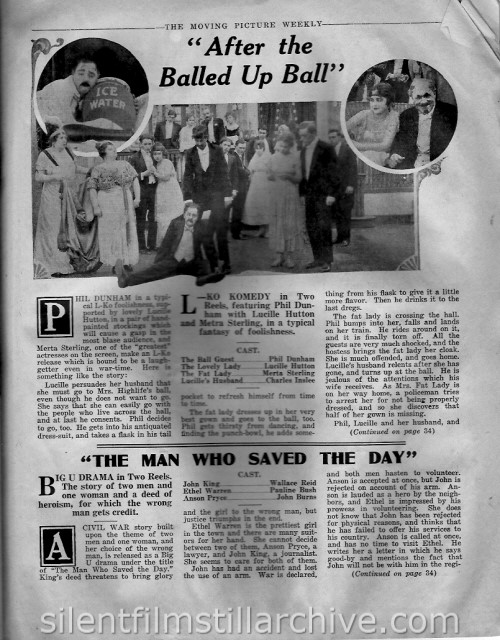 Moving Picture Weekly February 17, 1917 article on AFTER THE BALLED UP BALL