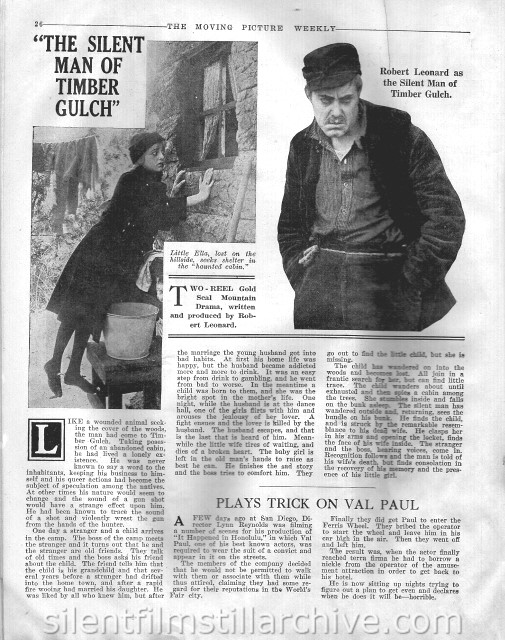 Moving Picture Weekly article on THE SILENT MAN OF TIMBER GULCH (1916)