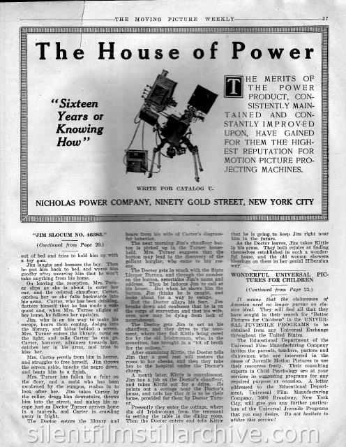 Moving Picture Weekly article on JIM SLOCUM NO. 46,393 (1916)