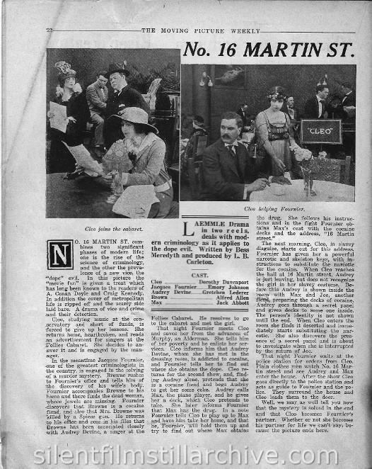 The Moving Picture Weekly, July 8, 1916, synopsis for NUMBER 16 MARTIN STREET with Dorothy Davenport and Emery Johnson.