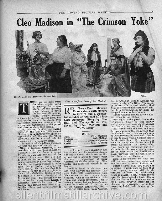 The Moving Picture Weekly, July 8, 1916, synopsis for THE CRIMSON YOKE with Cleo Madison and William V. Mong