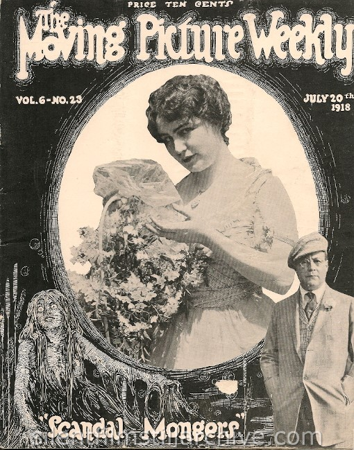 "Lois Weber in SCANDAL (1915) / SCANDAL MONGERS (1918) on the cover of ""The Moving Picture Weekly"""