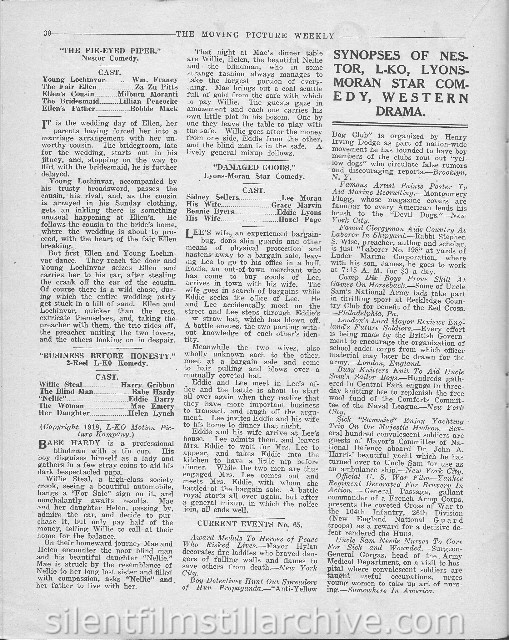Moving Picture Weekly August 17, 1918 page for BUSINESS BEFORE HONESTY (1918)