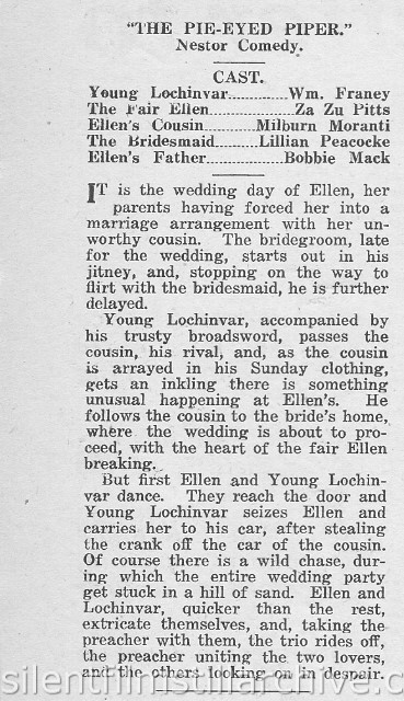 Moving Picture Weekly August 17, 1918 synopsis for THE PIE-EYED PIPER (1918)