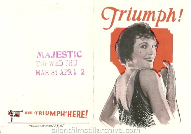 Leatrice Joy in TRIUMPH (1924) movie herald