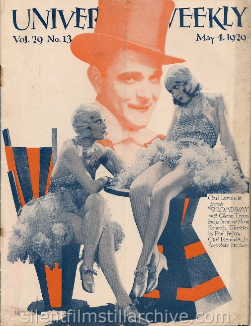 Universal Weekly magazine cover for May 4, 1929 featuring BROADWAY (1929) with Evelyn Brent and Merna Kennedy