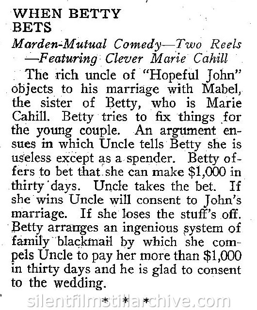 WHEN BETTY BETS (1917) synopsis