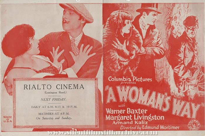 Advertising herald for A WOMAN'S WAY (1928) with Mary Livingston, Warner Baxter and Armand Kaliz from the Rialto Theatre in Bombay, India