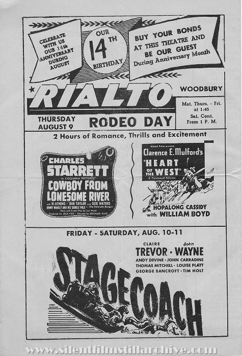 Rialto Theatre program, Woodbury, New Jersey, Thursday, August 9, 1945