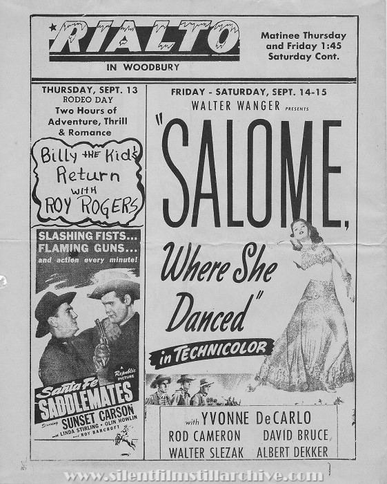Rialto Theatre program, Woodbury, New Jersey, Thursday, September 13, 1945