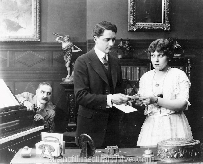 John Cossar, Bryant Washburn, and Anne Leigh in THE ALSTER CASE (1915)