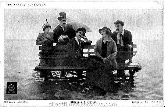 Charlie Chaplin, Edna Purviance, Bud Jamison, Billie Armstrong and Margie Reiger in BY THE SEA  (1915) Red Letter Photocard