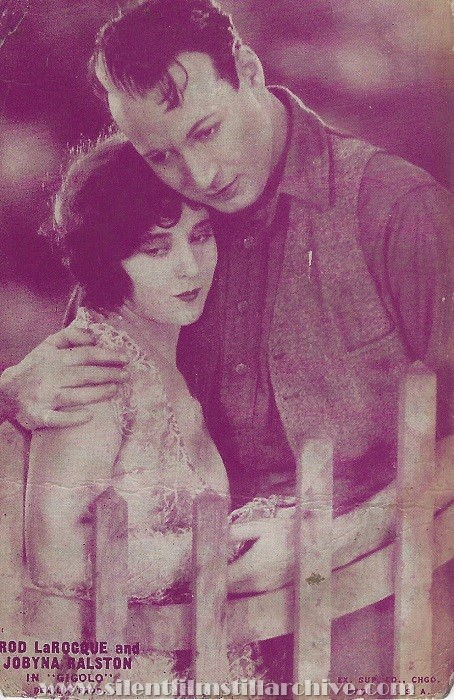 Arcade card for GIGOLO (1926) with Rod La Rocque and Jobyna Ralston