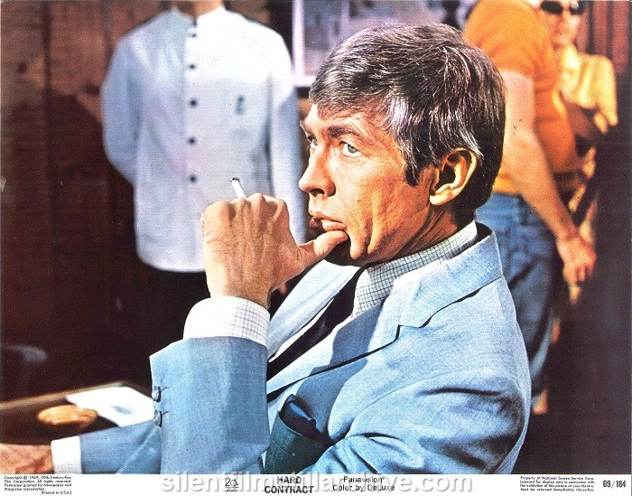 Lobby card with Lee RemickJames Coburn in HARD CONTRACT (1969)