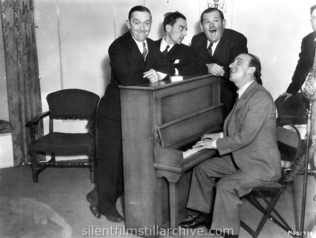 Stan Laurel, Oliver Hardy, Buster Keaton and Jimmy Durante