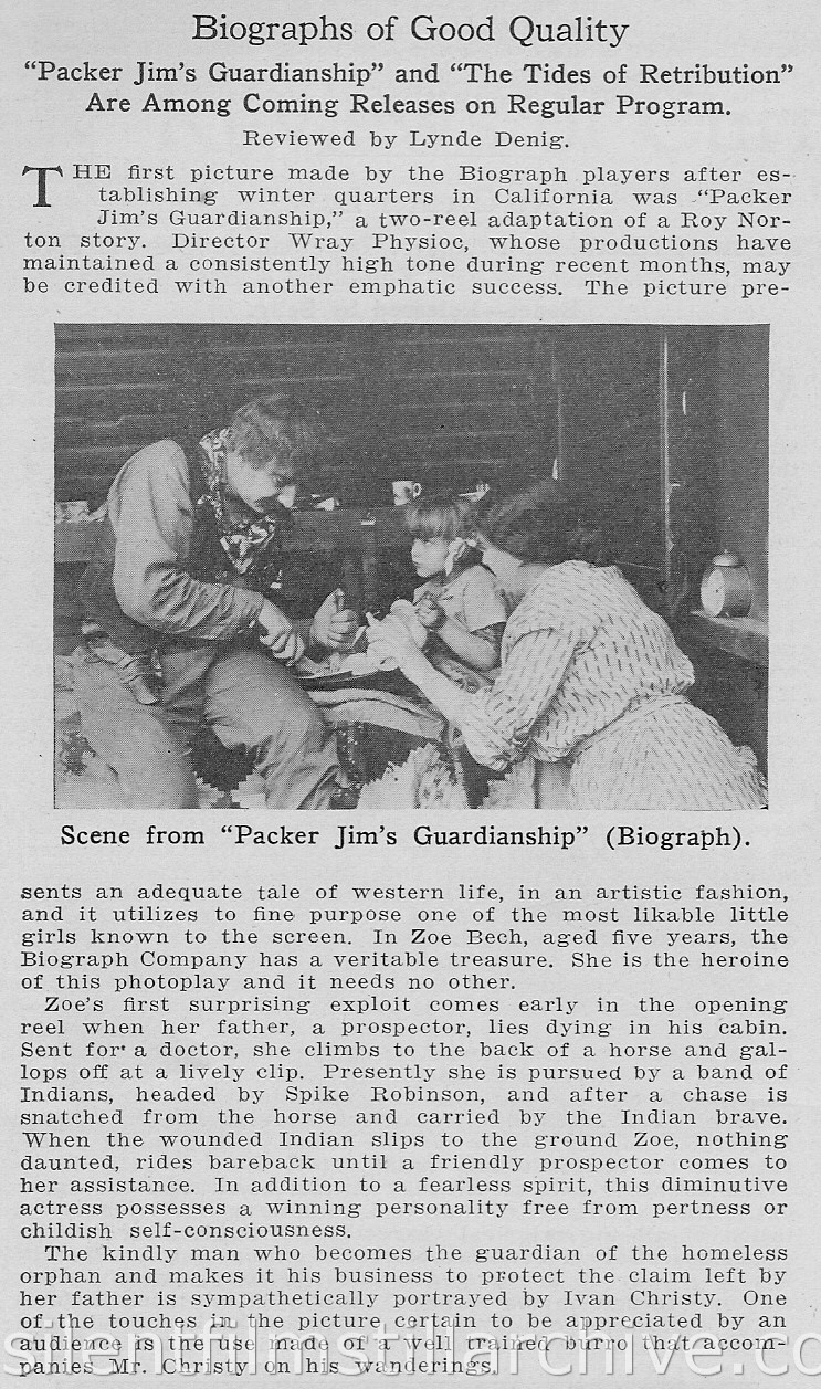 Moving Picture World article on PACKER JIM'S GUARDIANSHIP (1915)