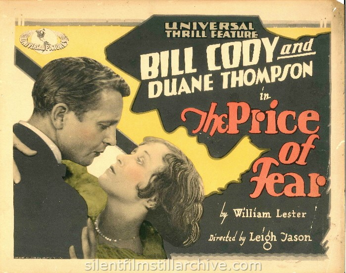 Lobby card of Bill Cody and Duane Thompson in THE PRICE OF FEAR (1928)