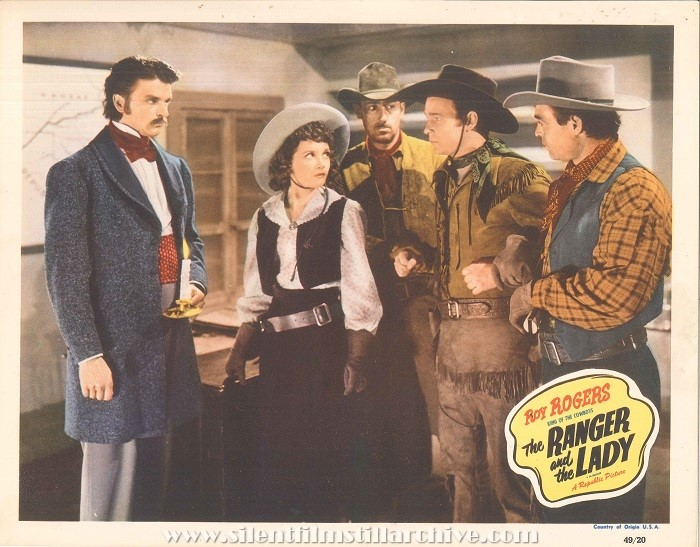 Re-release Lobby Card for THE RANGER AND THE LADY (1940/1949) with Henry Bradon, Julie Bishop, Chuck Baldra, Roy Rogers, and Henry Wills