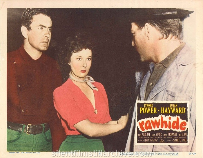 Lobby card for Rawhide (1951) with Tyrone Power and Susan Hayward