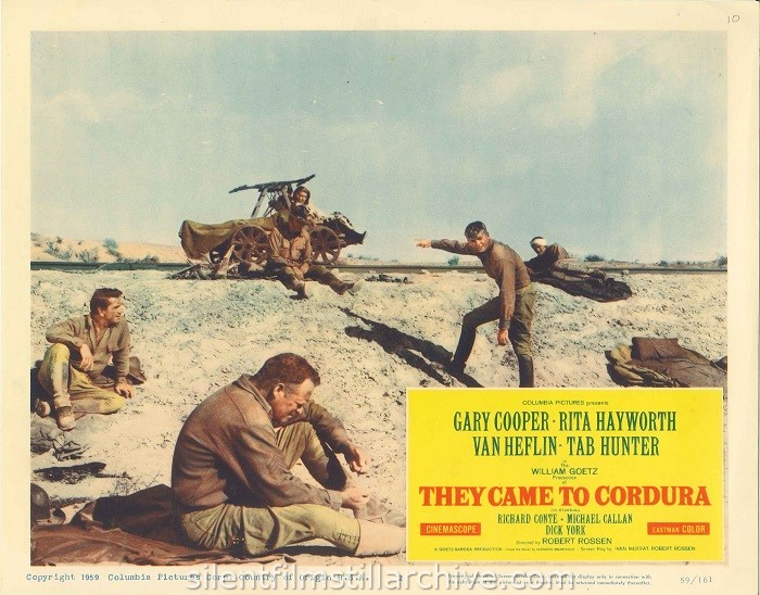 Lobby card for THEY CAME TO CORDURA (1959) with Richard Conte, Van Heflin, Rita Hayworth and Gary Cooper.