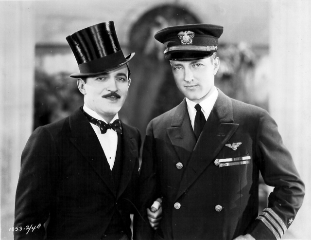 Raymond Griffith publicity photo for WEDDING BILL$ (1927). He is standing with explorer Richard Byrd.