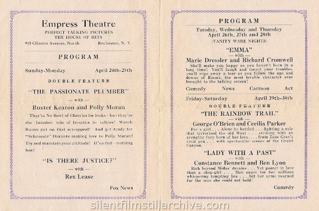 Rochester, New York Empress Theatre program, April 26th, 1932