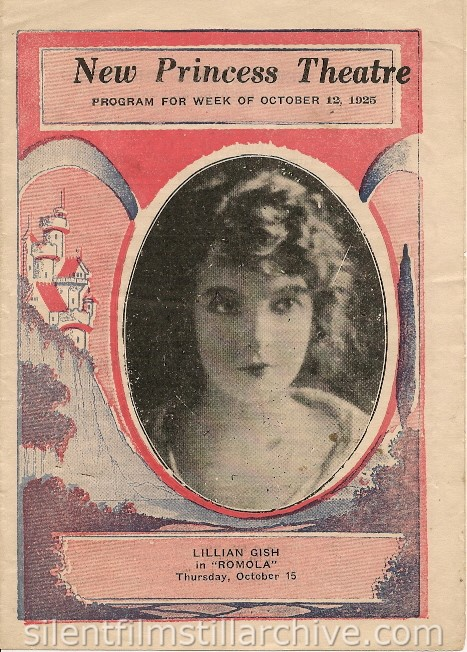 New Princess Theater program featuring Lillian Gish